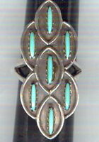 Seven (7) Turquoise Cabochons Set in Sterling Silver, Size 5 Ring