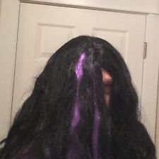 Deluxe Long Hair Wig - Black & Purple Creepy Scary Halloween Cosplay Thick Hair