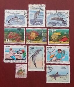 WORLDWIDE Used Marine Life Fish Scubadiving Dolphins Whales Swordfish Shark 1818