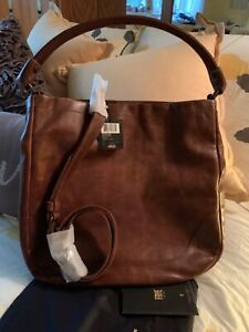 FRYYE MELISSA WASHED LEATHER HOBO HANDBAG - NWT - DARK BROWN