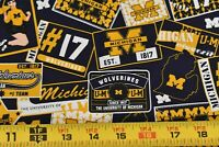By 1/2 Yd, University of Michigan / UofM Wolverines Quilt Fabric, Sykel, N6269