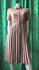 Vintage? Beige Ditsy Patterned, Peter Pan Collar Pleated Secretary Dress Xs/8