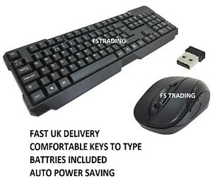 EZ-Touch Wireless Keyboard and Mouse Combo Set Black
