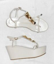 LOLA CRUZ sandales tongs compensées à plateau cuir greige P 38 Neuves