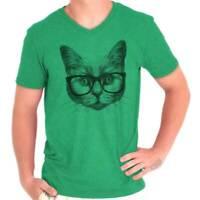Cool Hipster Cat Shirt | Funny Kitten Cute Gift Idea Pet Love V-Neck T Shirt