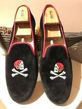 """Men's $495 Stubbs & Wootton Black Velvet """"SKULL"""" Slippers Loafers Shoes sz 14M"""