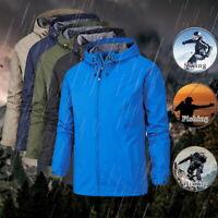 Men's Waterproof Jacket Windproof Lightweight Hooded Outdoor Sportswear LO