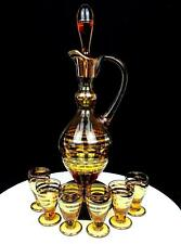 """ROMANIA ART GLASS 7 PC AMBER GOLD RINGED 13"""" DECANTER & CORDIAL GLASSES STICKERS"""
