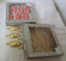 Vintage Christmas Ornaments Made Columbia Glass Hand Made Gorgeous Pinecone Box