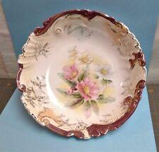 Antique Porcelain Floral Gold Gilt Serving Bowl