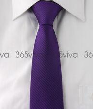 Dark Purple Stripes Mens Skinny Slim Narrow Woven Silk 6.5 cm Wedding Neck Tie