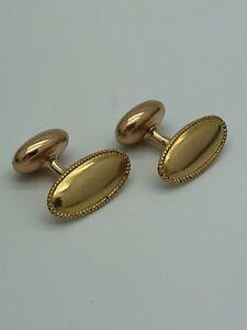 Vintage 14k Yellow Gold Oval Cufflinks Button Signet Monogram Antique