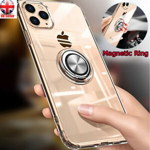 For iPhone11 Pro Max - Clear Soft Gel Case Cover With 360° Magnetic Ring Holder