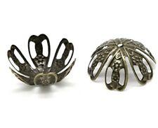 """20 Bronze FLOWER BEAD CAPS 11/16"""" x 3/8"""" (18 x 10mm) Findings (15068)"""