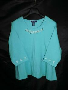 Denim & Co 2X Light Blue T Shirt Embroidered Beaded 3/4 Sleeve Cotton Stretch T