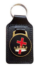 Knights Templar Cross & Crown Masonic Black Leather Key Fob