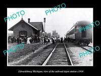 OLD LARGE HISTORIC PHOTO OF EDWARDSBURG MICHIGAN, RAILROAD DEPOT STATION c1910