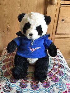 "Russ Berrie Ping Panda Teddy Bear Blue Fleece British Flag Plush Soft Toy 11"""
