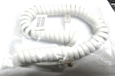 short white RJ10 telephone cable phone handset coiled cord spiral lead 4P4C wire