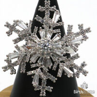 Gorgeous CZ Snowflake Ring Women Holiday Jewelry Gift 14K White Gold Plated