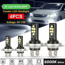 Mini H7 + H7 Combo LED Headlight Kit Bulbs High Low Beam 240W 52000LM 6000K Kit