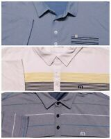 Lot of 3 TRAVIS MATHEW Polo Shirts Blue White Yellow Striped XL