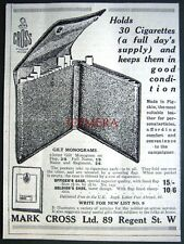 1917 'Mark Cross' Monogrammed Cigarette Case ADVERT - Small WW1 Tobacco Print Ad