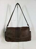 Fossil Small Dark Brown Leather Handbag Shoulder Bag Purse With Flap