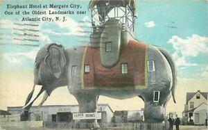 Atlantic City New Jersey Elephant Hotel landmarks Sithens1920s Postcard 21-2141