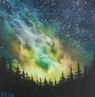 """Bob Ross Style Original Oil Painting """"Milky way view"""" on 12x12 canvas"""