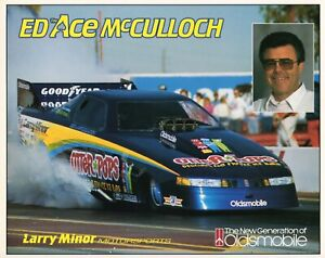 """1990 Ed """"The Ace"""" McCulloch Otter Pops NHRA FC Handout Card Larry Minor 10x8"""