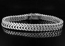 "Men's .925 Sterling Silver White Finish Diamond Cut Franco Link Bracelet 10mm 9"""