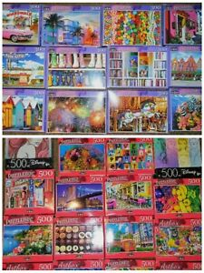 Lot of 5 New 300 to 500 Piece Jigsaw Puzzles Mystery Lot Animals~Landscapes~Food