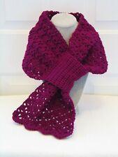 New Keyhole Scarf w/ Scalloped Edge Boysenberry Wine Handmade Hand Crochet Knit