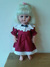 "LUXURY COTTON,HANDCRAFTED DOLL/BEAR DRESS,Christmas Red,Fit Dolls 15-17"",Gift."
