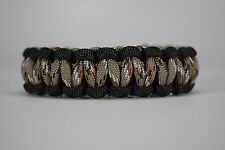 550 Paracord Survival Bracelet Cobra Black/Desert Camo Camping Military Tactical