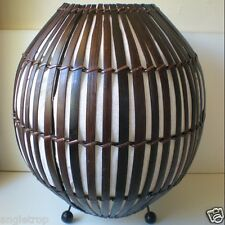 BALI BAMBOO WOOD ROUND RATTAN WICKER DESK LAMP LANTERN LIGHT SHADE BALINESE 35CM