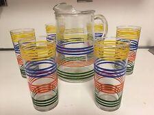 VINTAGE JUICE/TEA PITCHER & GLASS SET - WITH VIBRANT COLORS - 7 PIECES TOTAL
