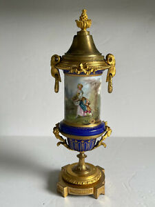 Antique HAND Painted SEVRES Porcelain Fire GIlded Bronze Mounted Covered URN