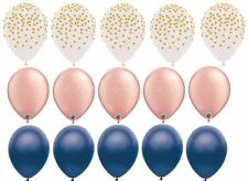 15 PC Navy Rose Gold Gold Confetti Latex Balloons Birthday Wedding FREE SHIPPING