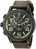 Nixon Men's 48-20 Chrono Leather Analog Quartz Brown Mens Watch A363-2209