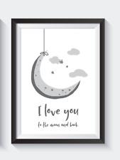 Asilo camera da letto GRIGIO A4 stampe-I LOVE YOU to the Moon E Indietro