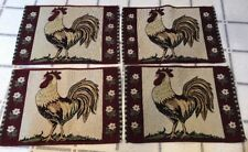 Set (4) Place mats Dinner table decor Rooster Chicken Cloth Bird animal