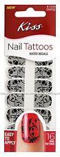 KISS 16 Water Decals BLACK LACE Nail Tattoos/Art SKULLS+FLOWER New! #61200 1/2