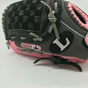 Louisville Slugger Diva Left Hand Throw DV1100 Youth Pink Baseball Glove Mitt