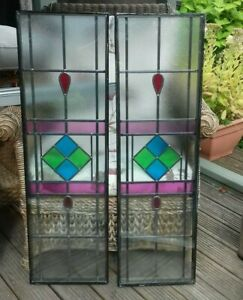 2 Leaded Double  Glazed  Panels ideal for shed man cave garden strutctures etc