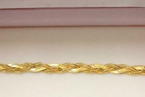 916/22ct sparkling attractive indian gold braids style bracelet  *Boxed*