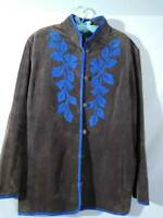 Linea By Louis DellOlio Womens Coat Brown Floral Buttons Lined Leather Plus 1X