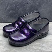 Dansko Pro XP Purple Dots Patent Leather Clogs Shoes Sz 10.5-11 US 41 EU Nursing