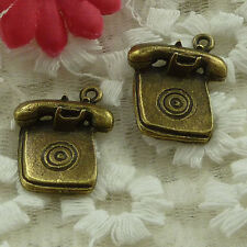 free ship 24 pieces bronze plated telephone set charms 24x20mm #3331